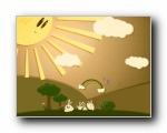 绿色可爱主题小白兔壁纸(多分辨率)