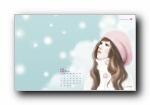韩国文具品牌Pinkfoot 2009月历插画宽屏壁纸