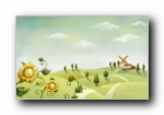 Aquarel可爱插画宽屏高清壁纸