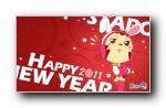 2011新年哈宝米露可爱红色宽屏壁纸