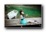 《湖心》《心静界》小雅美女模特意境摄影宽屏壁纸