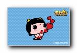 招财童子《幸福》可爱卡通女孩壁纸