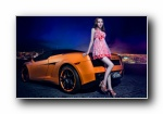 盖拉多 Gallardo 改装车美女模特宽屏壁纸