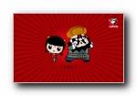 红色经典 招财童子 可爱卡通壁纸