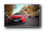 红色日产GT-R 改装车美女刘露模特宽屏壁纸