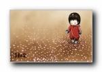 速写本子《亲亲木朵》可爱卡通女孩宽屏壁纸