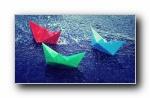 《承载梦想的小纸船》折纸纸船宽屏壁纸