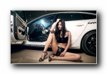 奥迪S5 改装车美女模特Vinnci宽屏壁纸