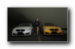 宝马M5改装车美女模特宽屏壁纸