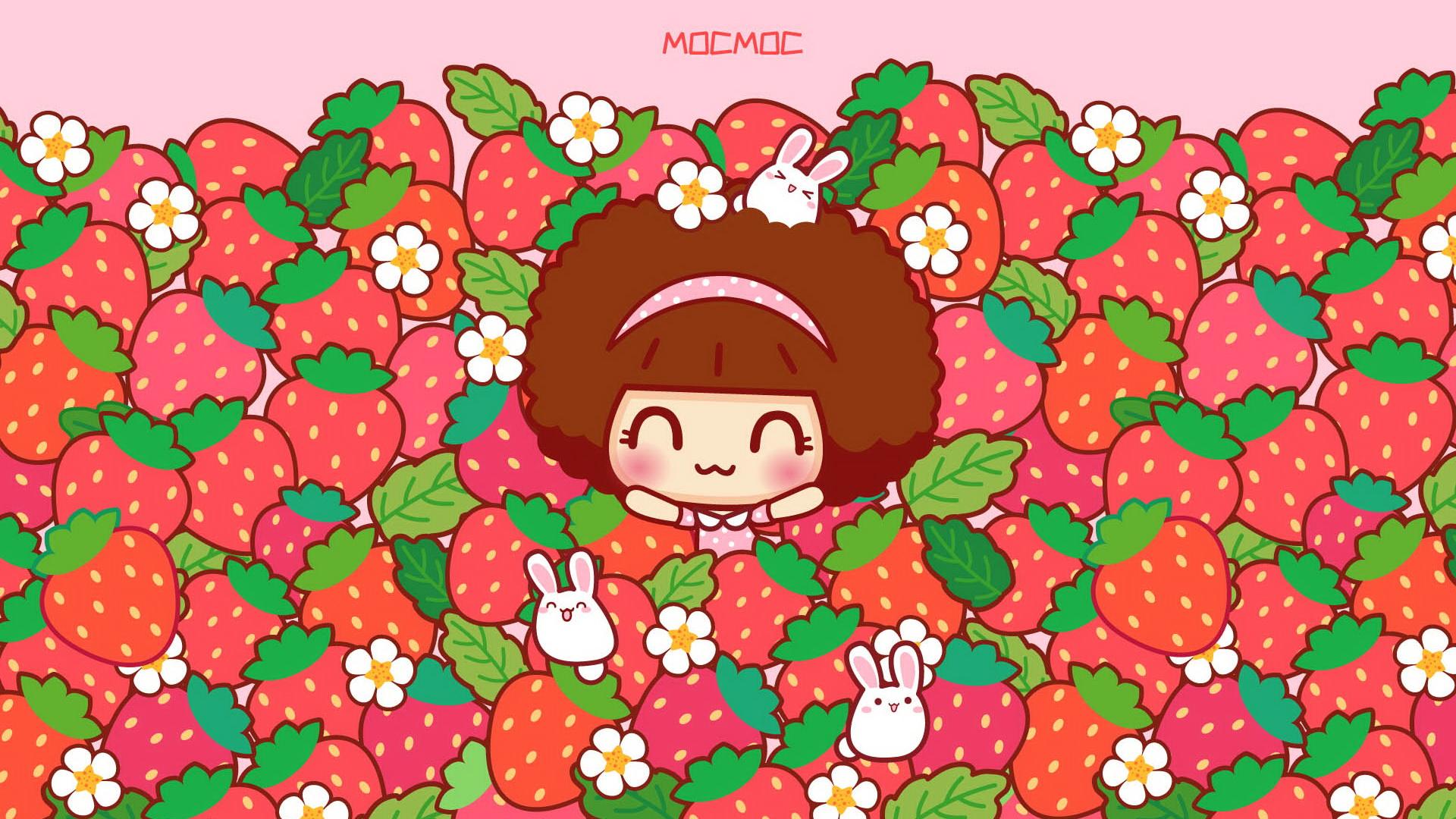 摩丝摩丝粉红春天可爱卡通宽屏壁纸(壁纸1)