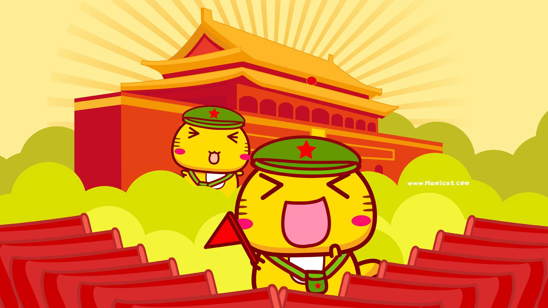 哈咪猫爱祖国 可爱卡通宽屏壁纸(壁纸8)
